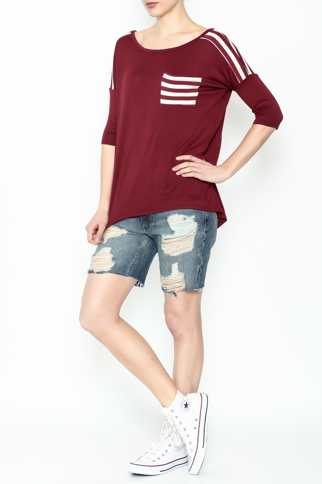 Daisy's Fashions Stripe Pocket Tee - Side Cropped Image