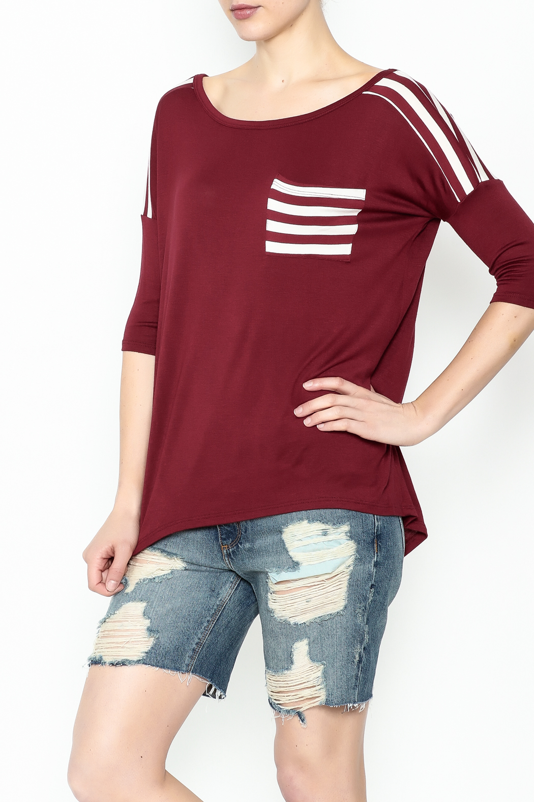 Daisy's Fashions Stripe Pocket Tee - Front Cropped Image