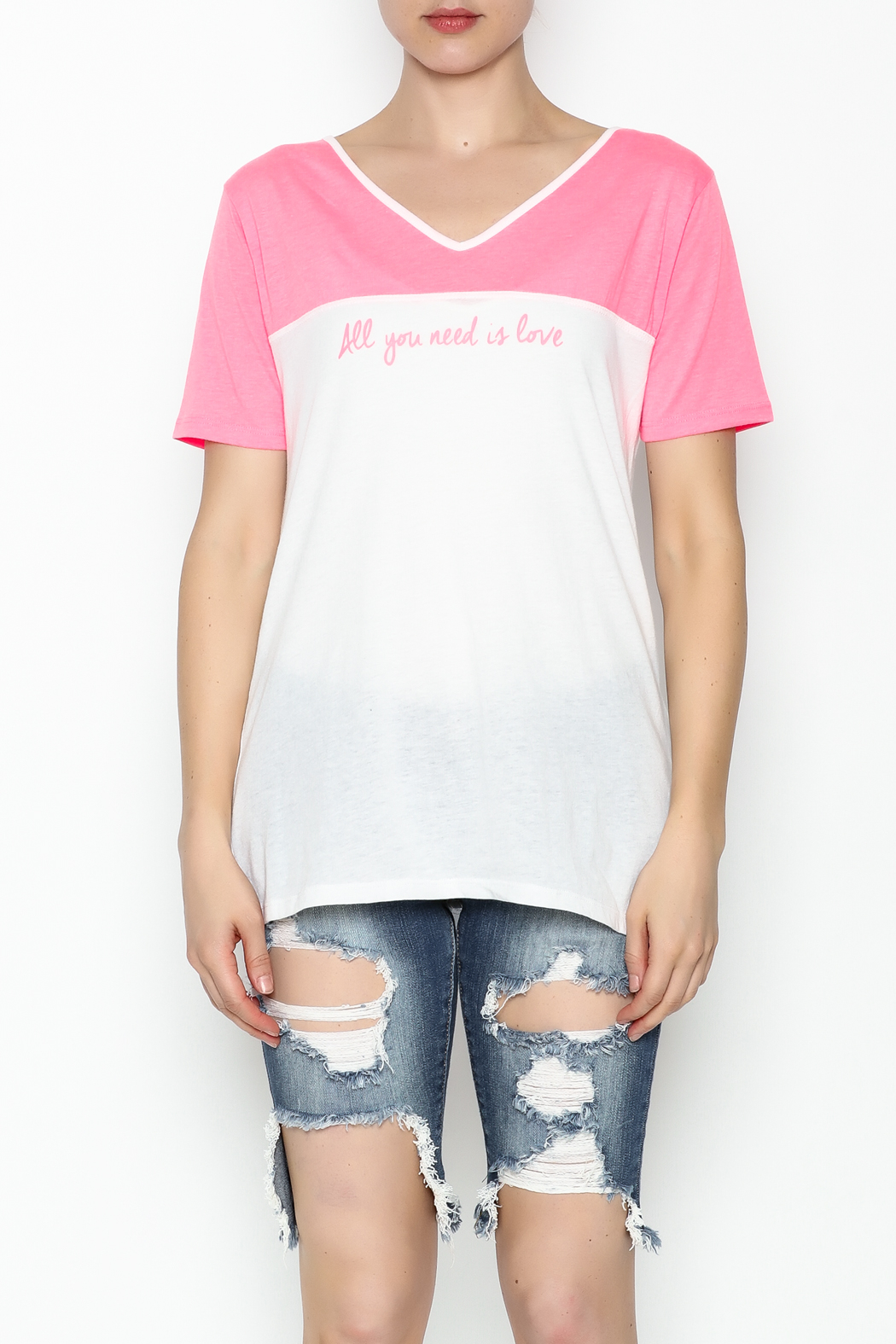 Daisy's Fashions V Neck Printed Tee - Front Full Image