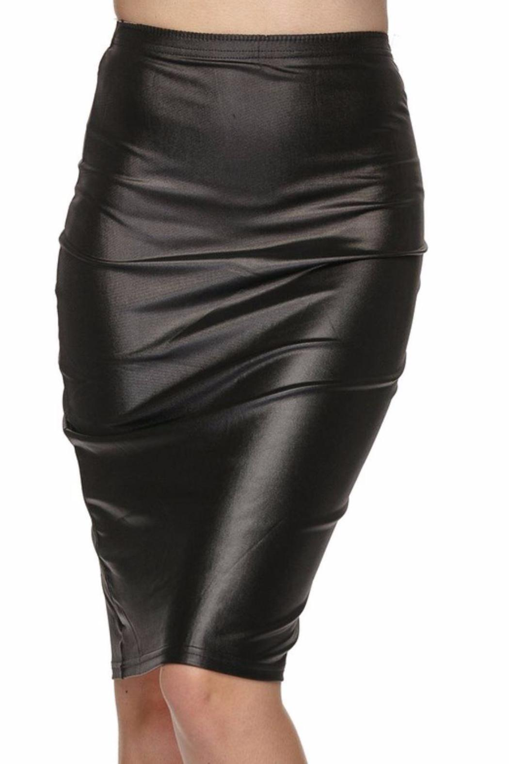 Daisy's Fashions Faux Leather Skirt - Front Full Image