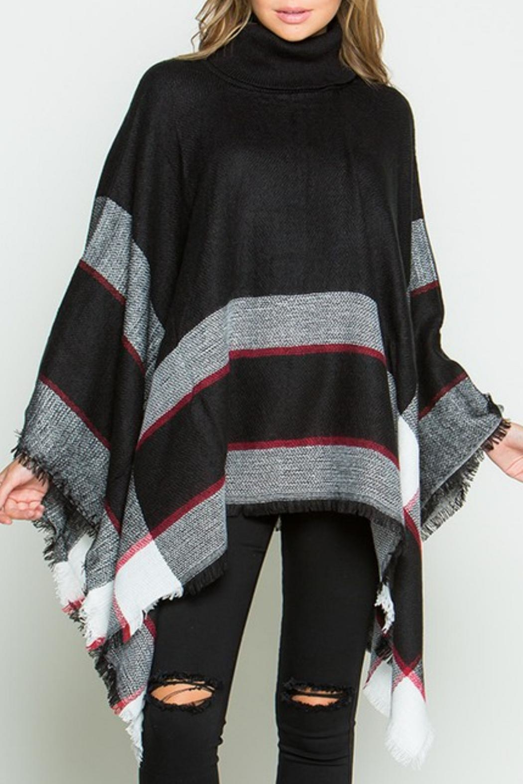 Daisy's Fashions Turtle Neck Poncho - Front Full Image