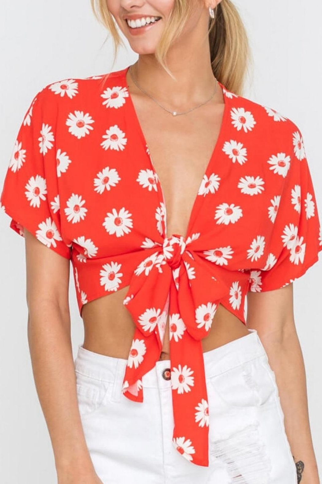 Lush Clothing  Daisy Tie Top - Front Full Image