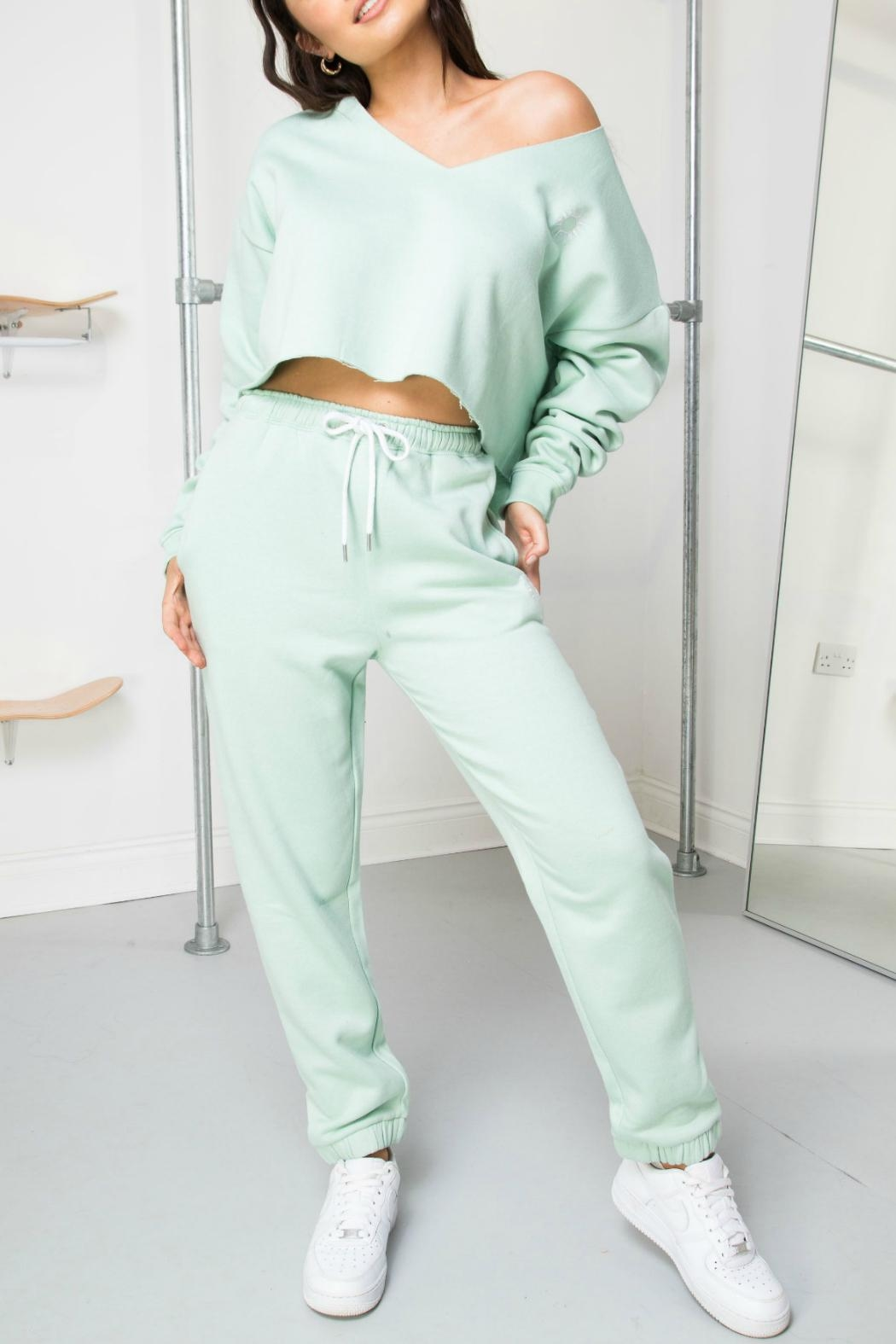 Daisy Street Mint Soleil Joggers - Front Full Image