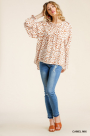 umgee  Dalmatian Babydoll Top - Front cropped