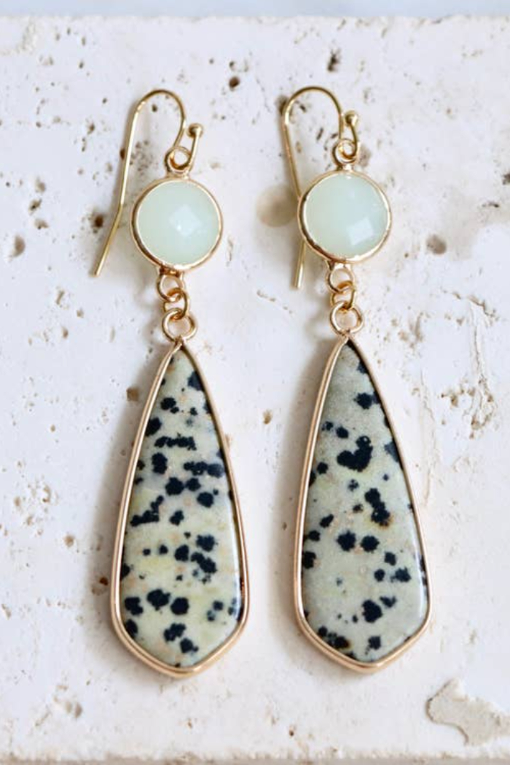 Mesa Blue Dalmatian Jasper and Mint Earrings - Front Cropped Image