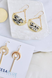 Mesa Blue Dalmatian Jasper Crescent Earrings - Front cropped