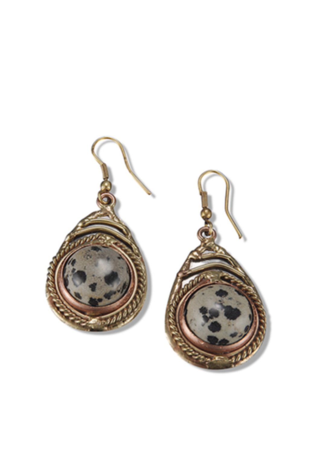 Anju Handcrafted Artisan Jewelry Dalmatian Jasper Earring - Front Cropped Image