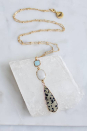 Mesa Blue Dalmatian Jasper Moonstone Long Necklace - Product Mini Image