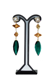 Dana Ponticiello Emerald Swarovski Earrings - Front cropped