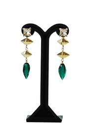 Dana Ponticiello Greenery Swarovski Earrings - Front cropped