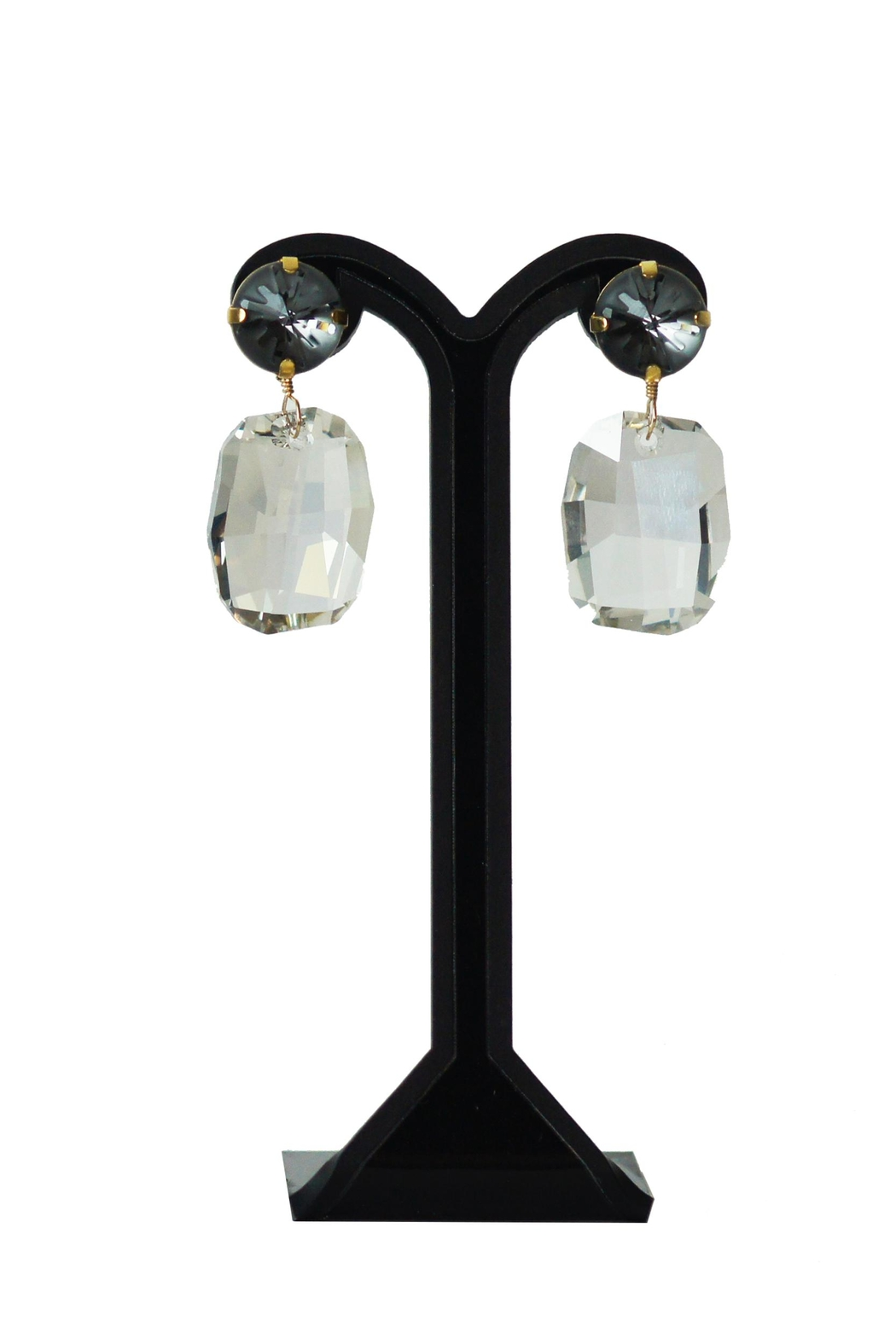 Dana Ponticiello Grey Swarovski Earrings - Front Cropped Image