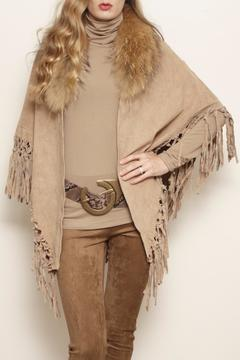 Shoptiques Product: Suede Raccoon-Collar Wrap