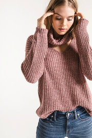 rag poets Danae Cowl Neck V Knit Sweater - Product Mini Image