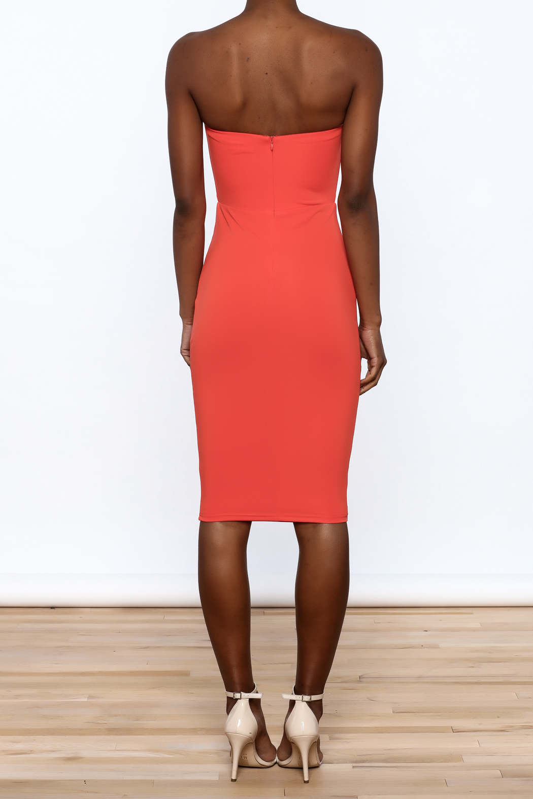 Dance & Marvel Coral Bodycon Dress - Back Cropped Image