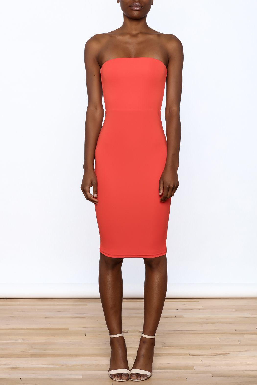 Dance & Marvel Coral Bodycon Dress - Front Cropped Image