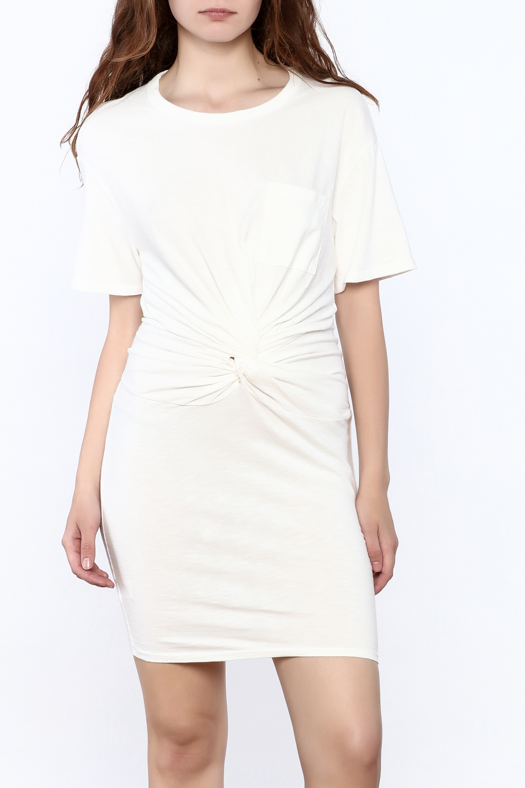 Dance & Marvel White Knotted Dress - Front Cropped Image