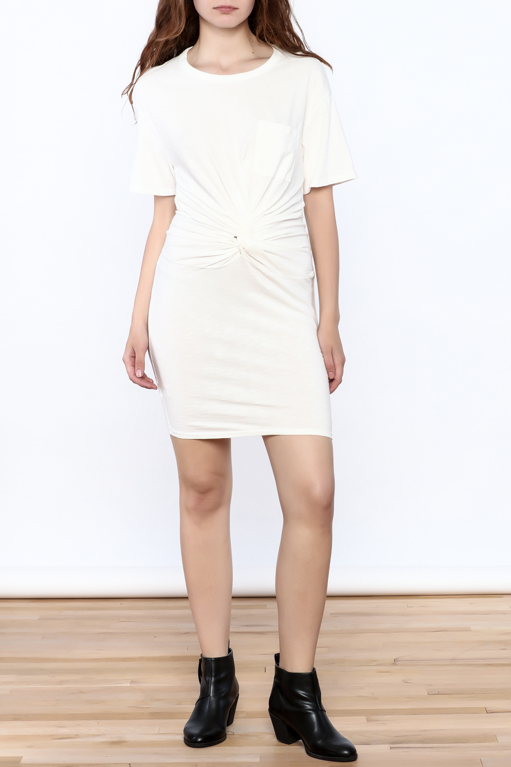 Dance & Marvel White Knotted Dress - Front Full Image