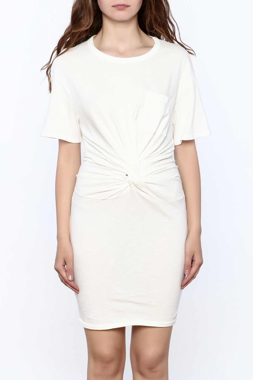Dance & Marvel White Knotted Dress - Side Cropped Image