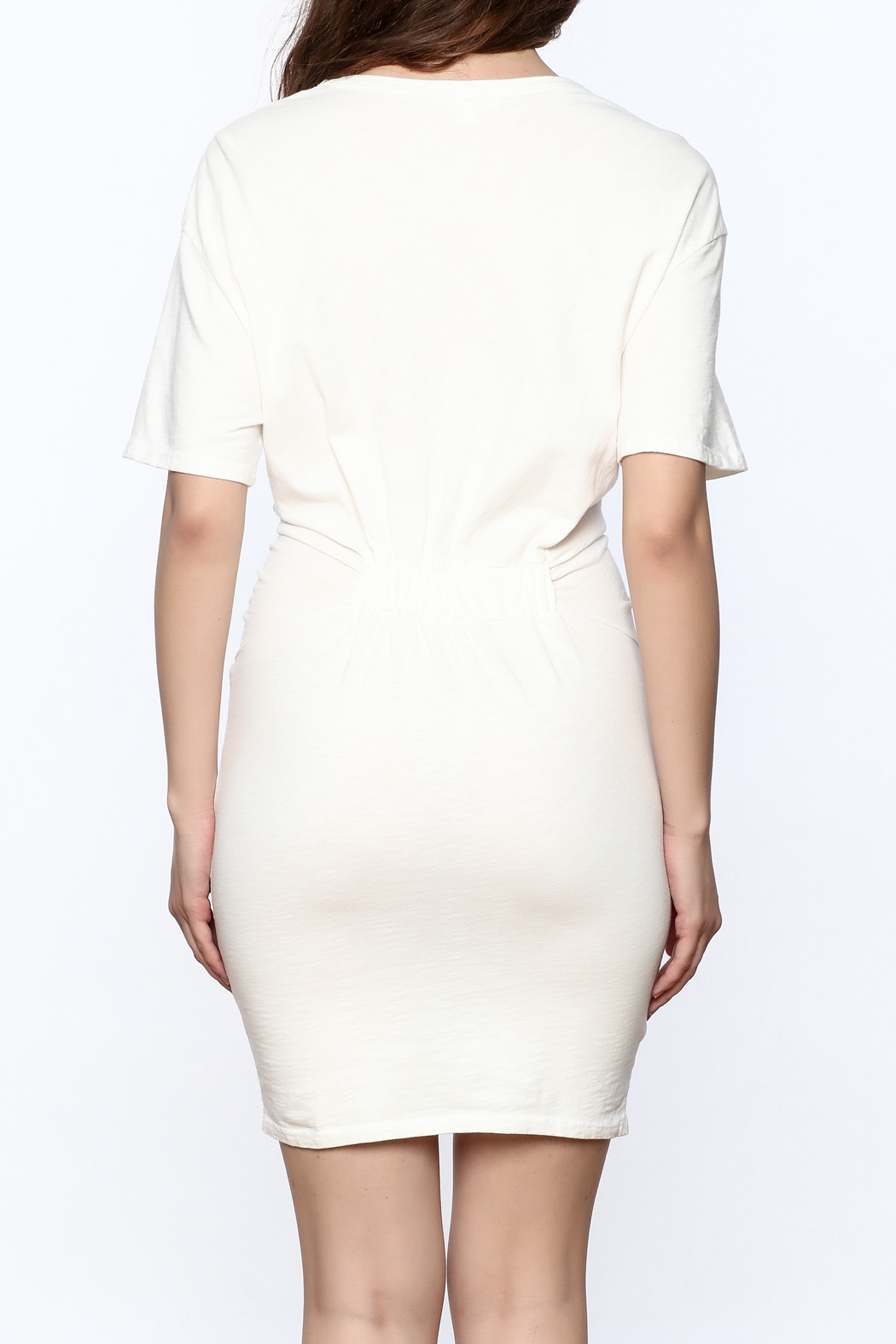Dance & Marvel White Knotted Dress - Back Cropped Image