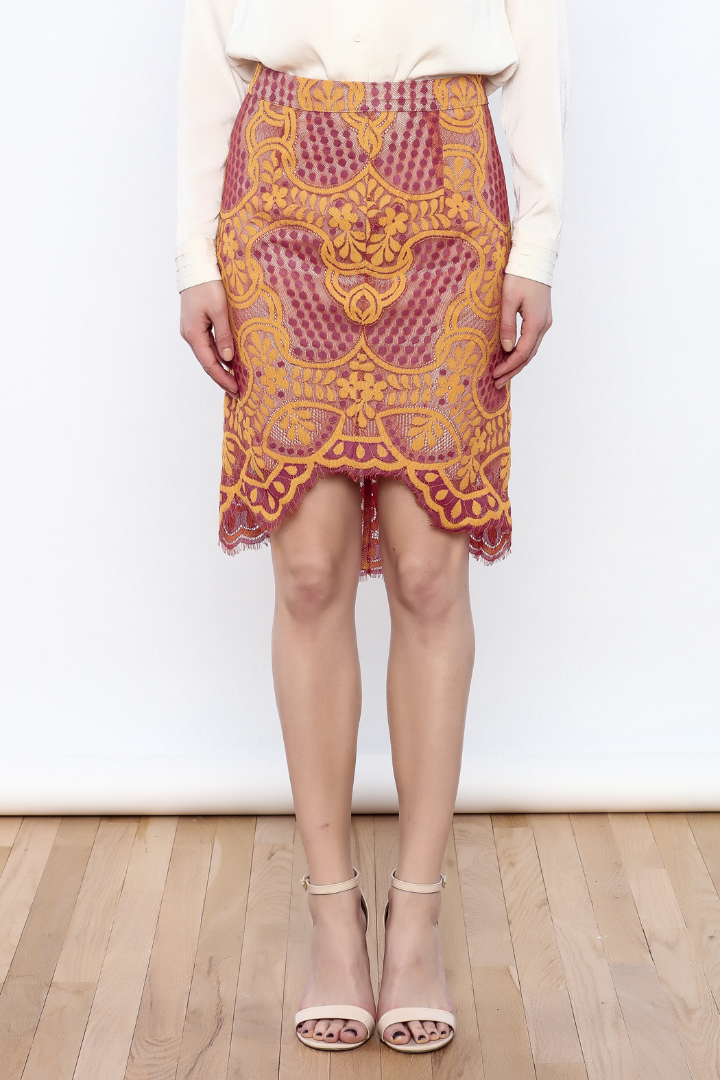 Dance & Marvel Lace Pencil Skirt - Side Cropped Image