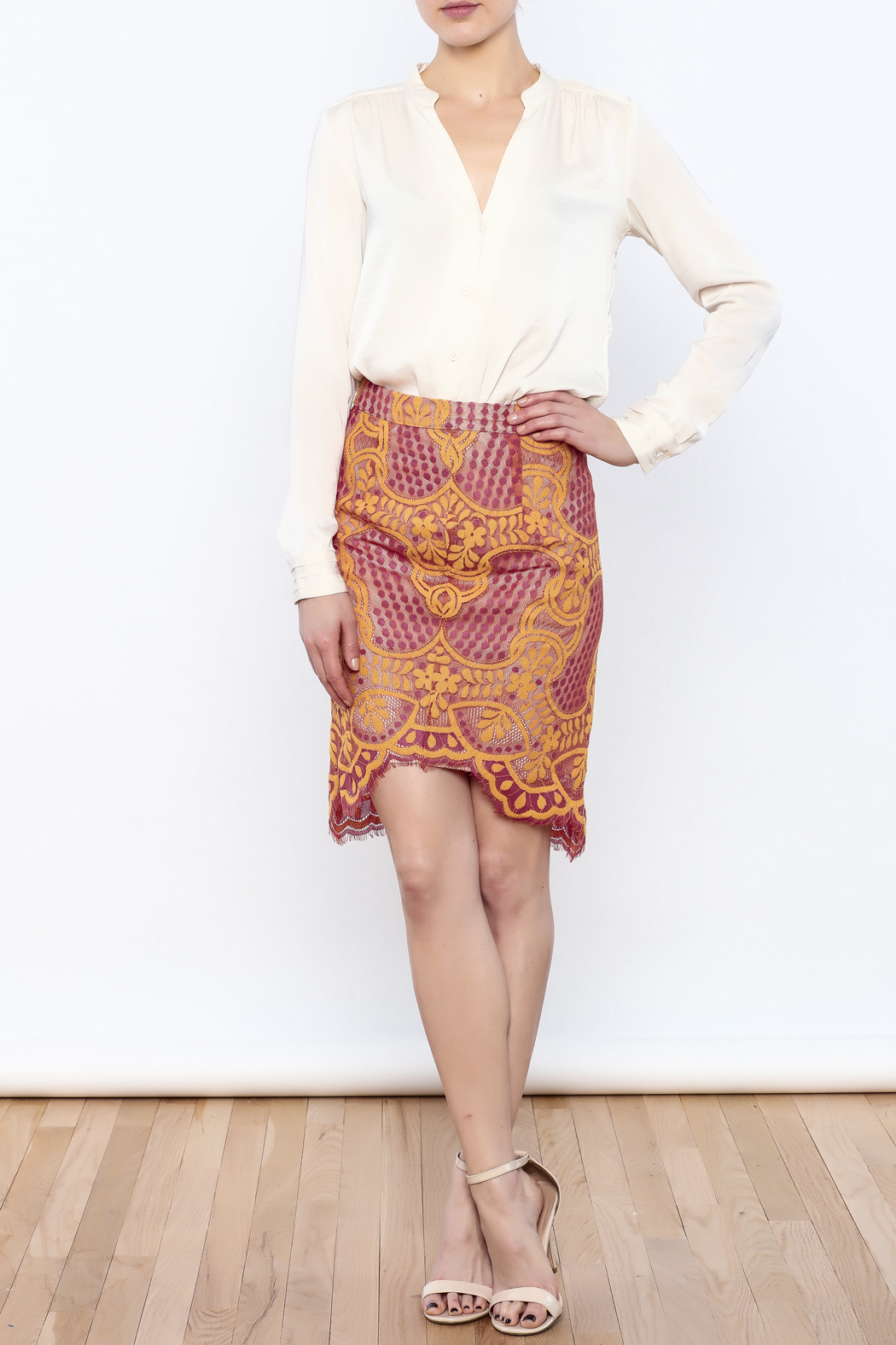 Dance & Marvel Lace Pencil Skirt - Front Full Image