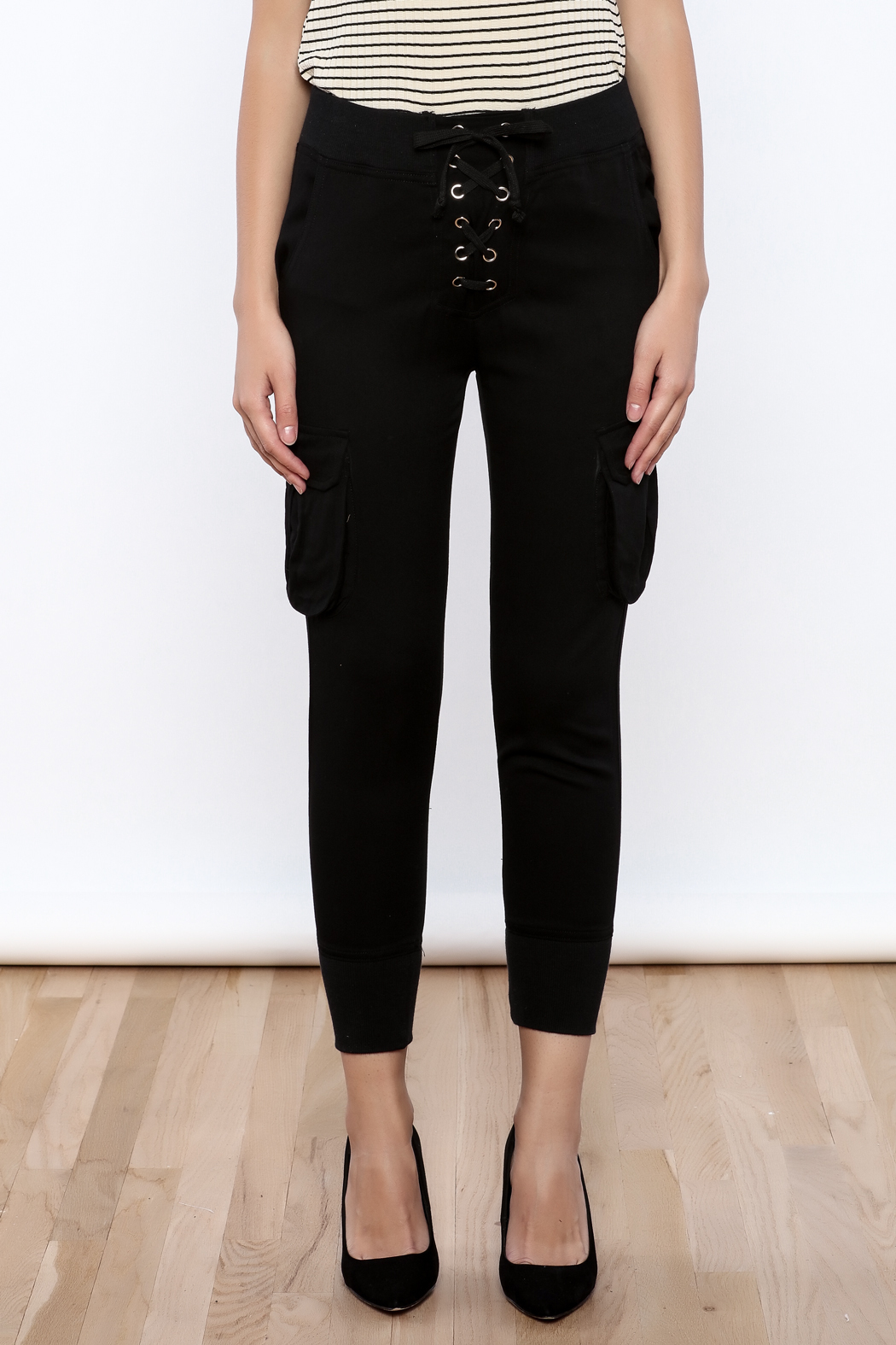 Dance & Marvel Lace Up Joggers - Side Cropped Image