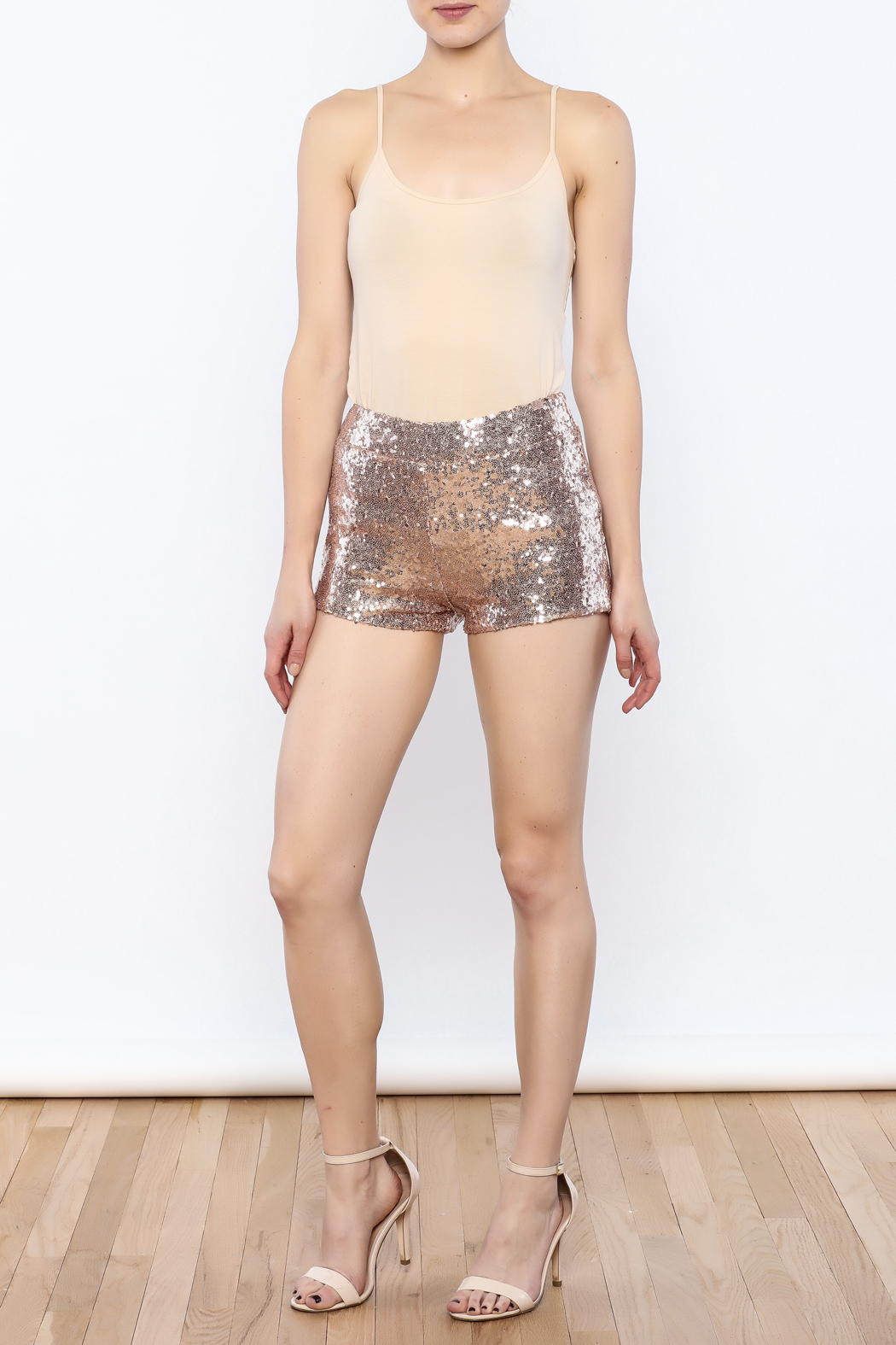 Dance & Marvel Rose Sequined Shorts - Front Full Image
