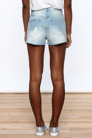 Dance & Marvel Star Printed Denim Shorts - Back cropped