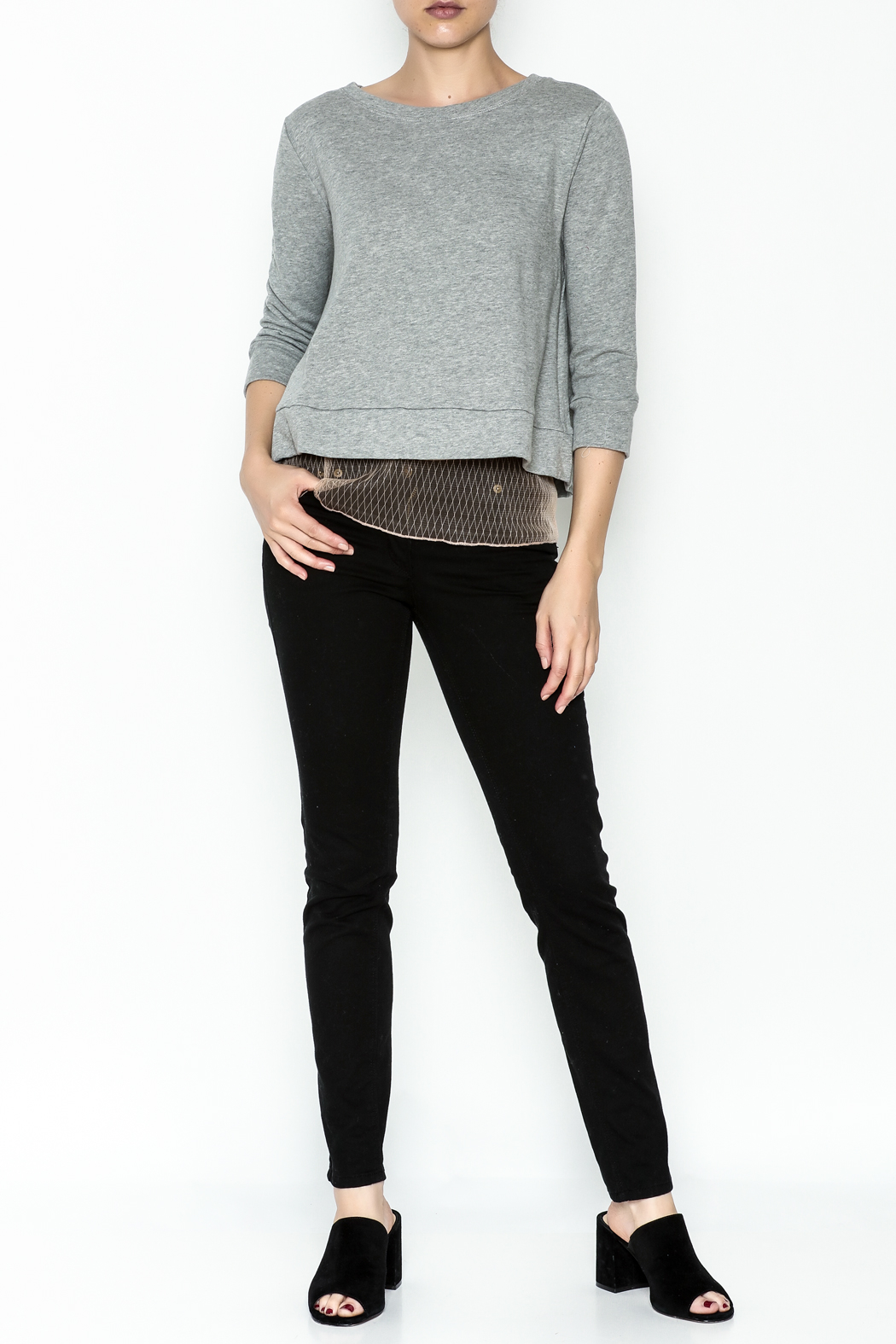Dance and Marvel Lace Underlay Sweater - Side Cropped Image