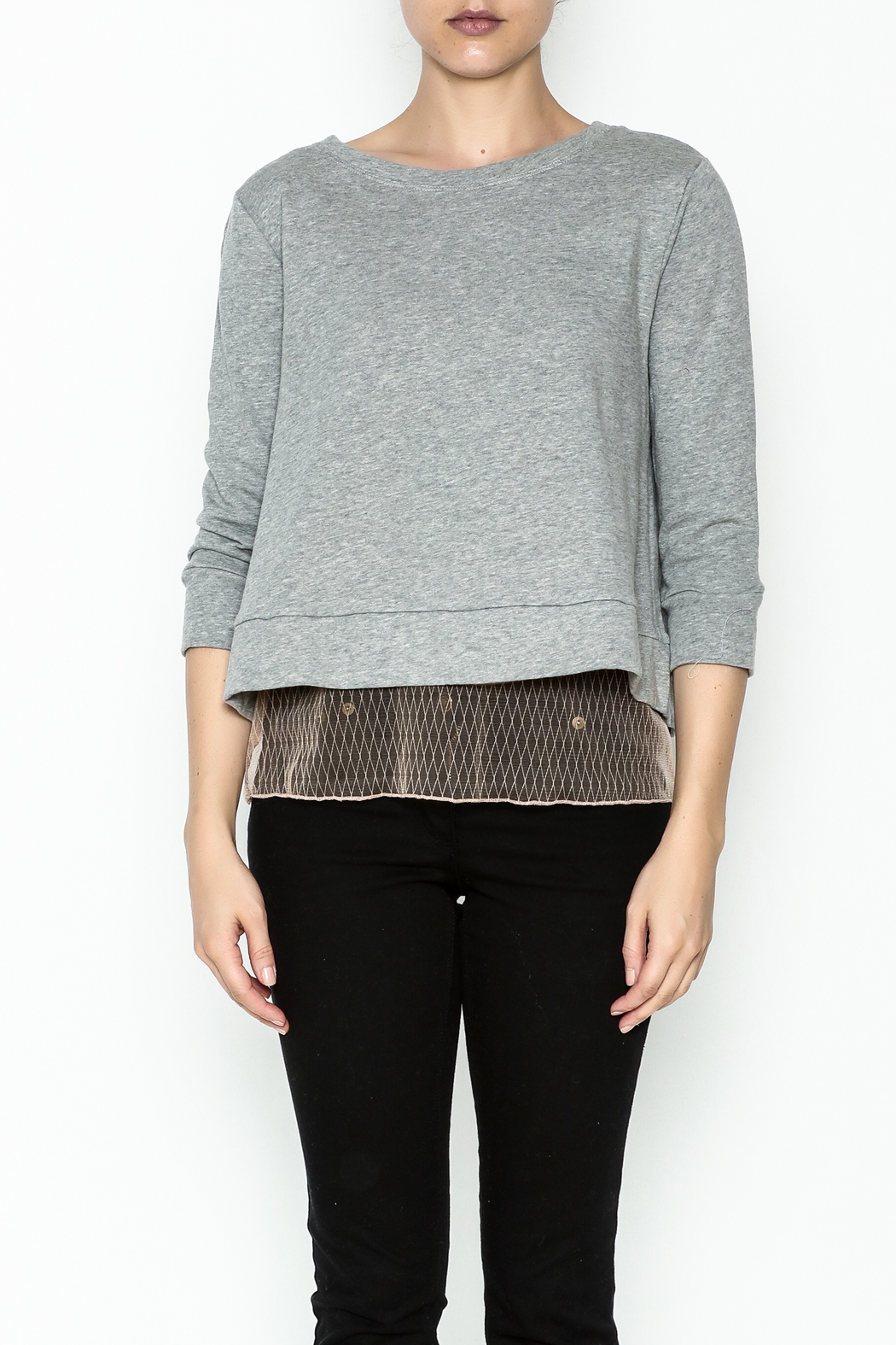 Dance and Marvel Lace Underlay Sweater - Front Full Image