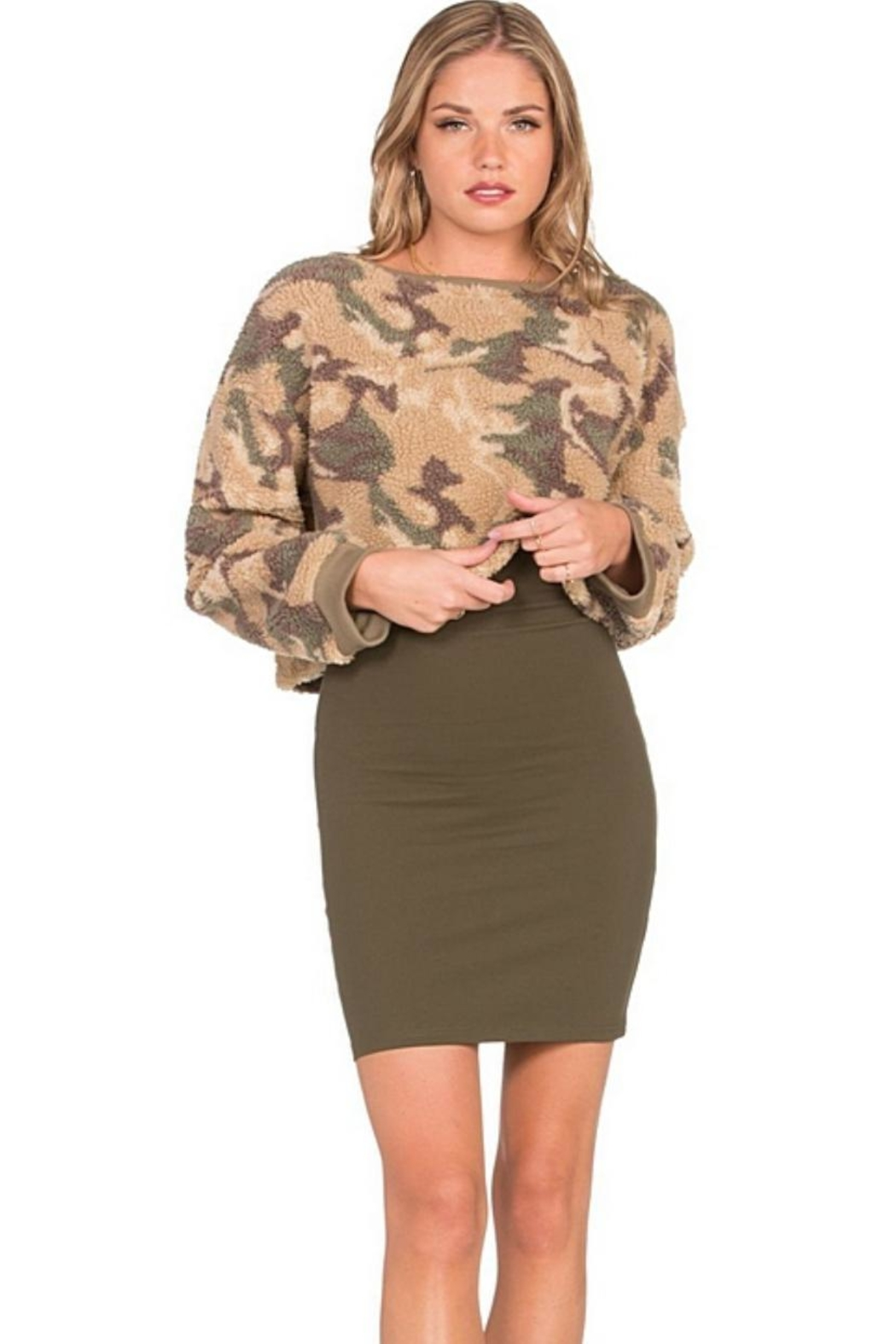 Dance & Marvel Long-Sleeve Camouflage Sweater - Front Full Image