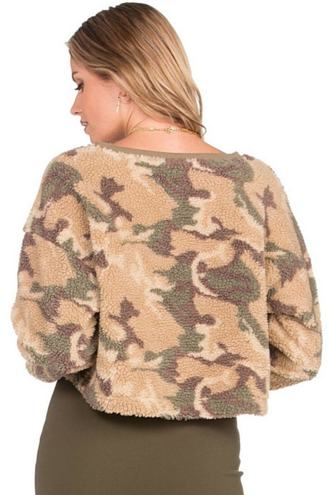 Dance & Marvel Long-Sleeve Camouflage Sweater - Side Cropped Image
