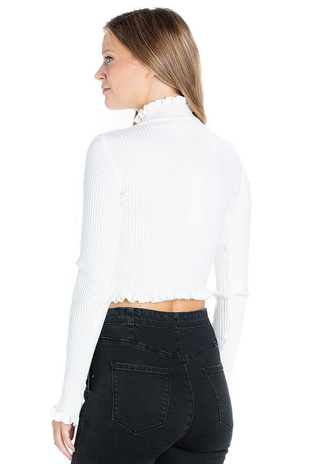 Dance & Marvel Ruffled Crop Sweater - Front Full Image