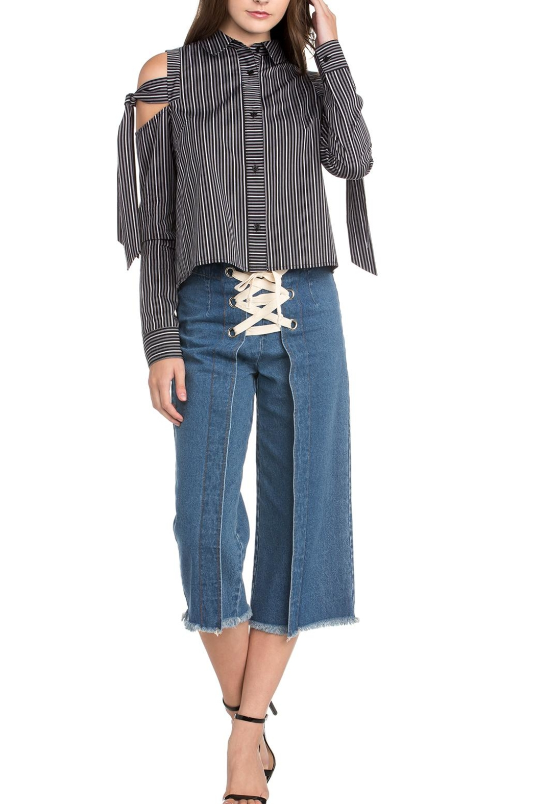 Dance & Marvel Stripe Ots Blouse - Front Cropped Image