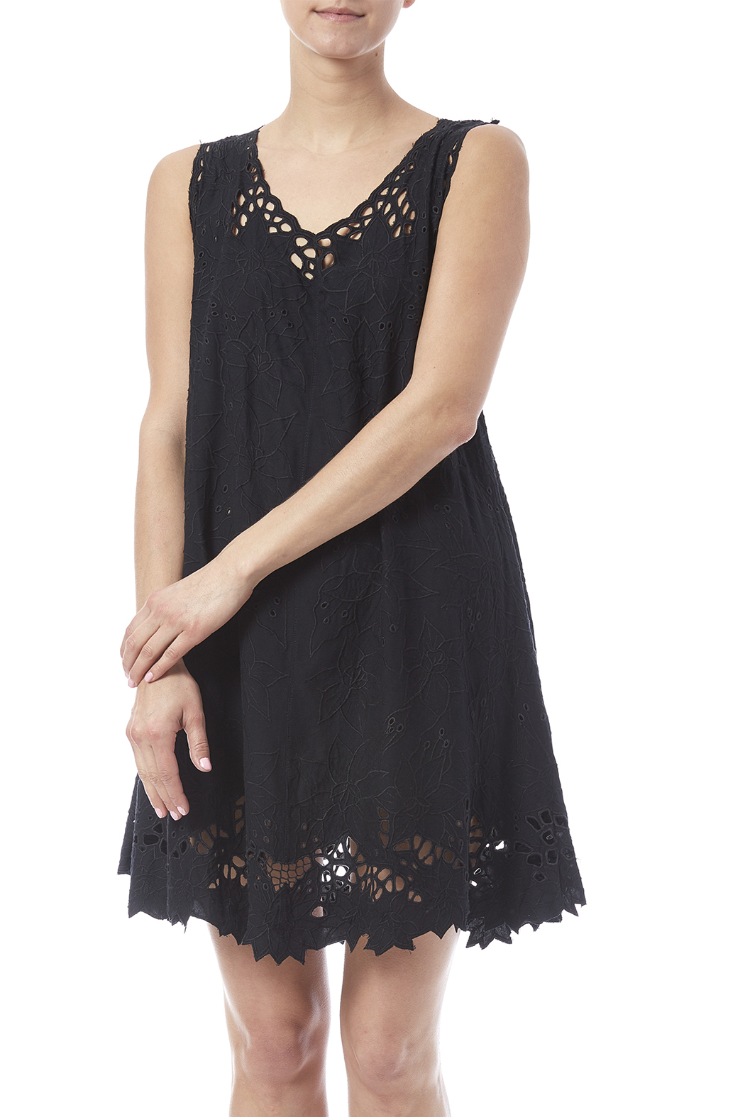 Dancing Gecko Eyelet Lace Dress - Front Cropped Image