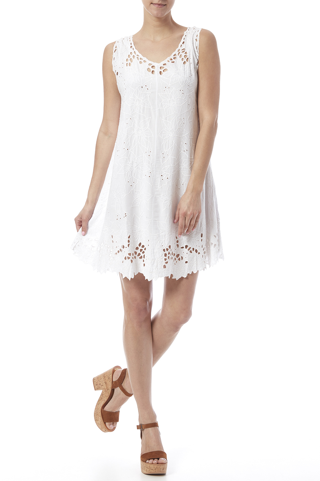 Dancing Gecko Eyelet Lace Dress - Front Full Image