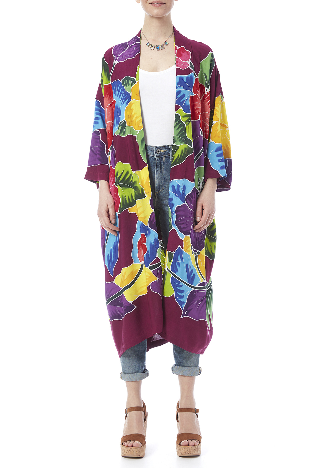Dancing Gecko Kimono Style Robe - Side Cropped Image