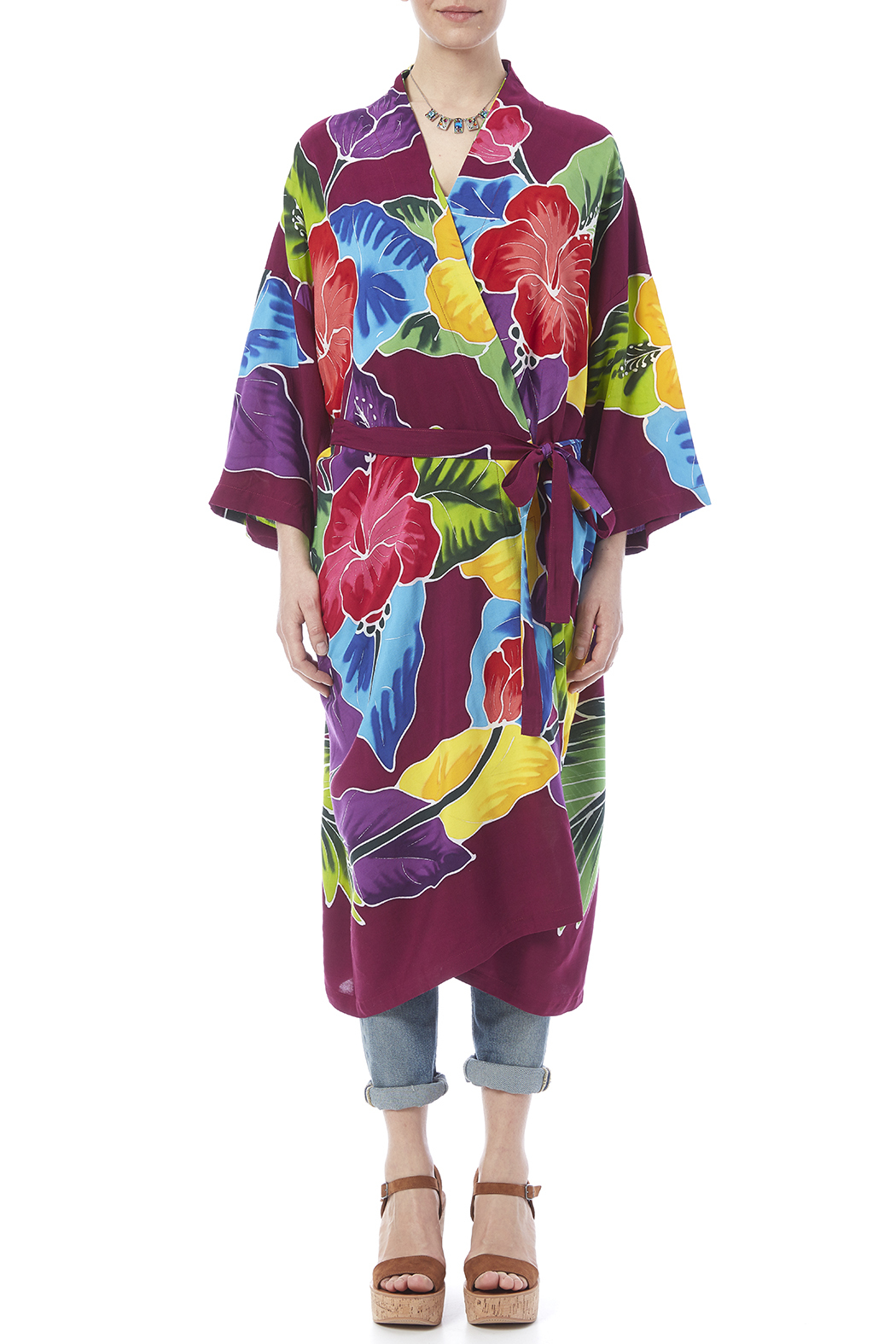 Dancing Gecko Kimono Style Robe - Front Cropped Image