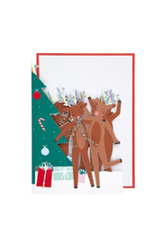 Meri Meri  Dancing Reindeer Concertina Card - Front full body