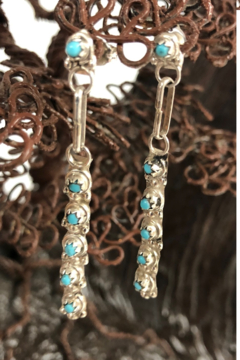 Shoptiques Product: Dangle Turquoise and Silver Earrings