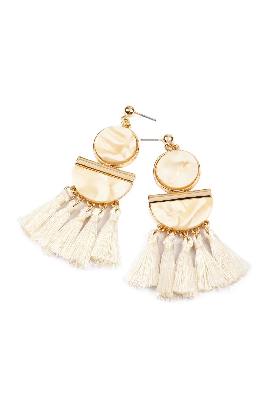 Riah Fashion Dangling-Resin With Tassel-Earrings - Front Full Image