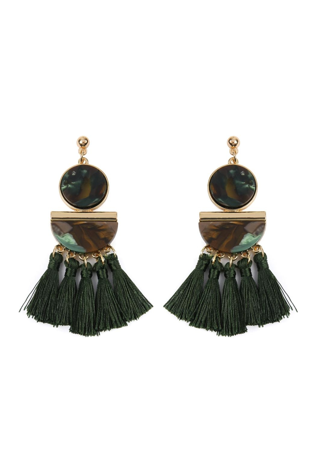 Riah Fashion Dangling-Resin With Tassel-Earrings - Front Cropped Image