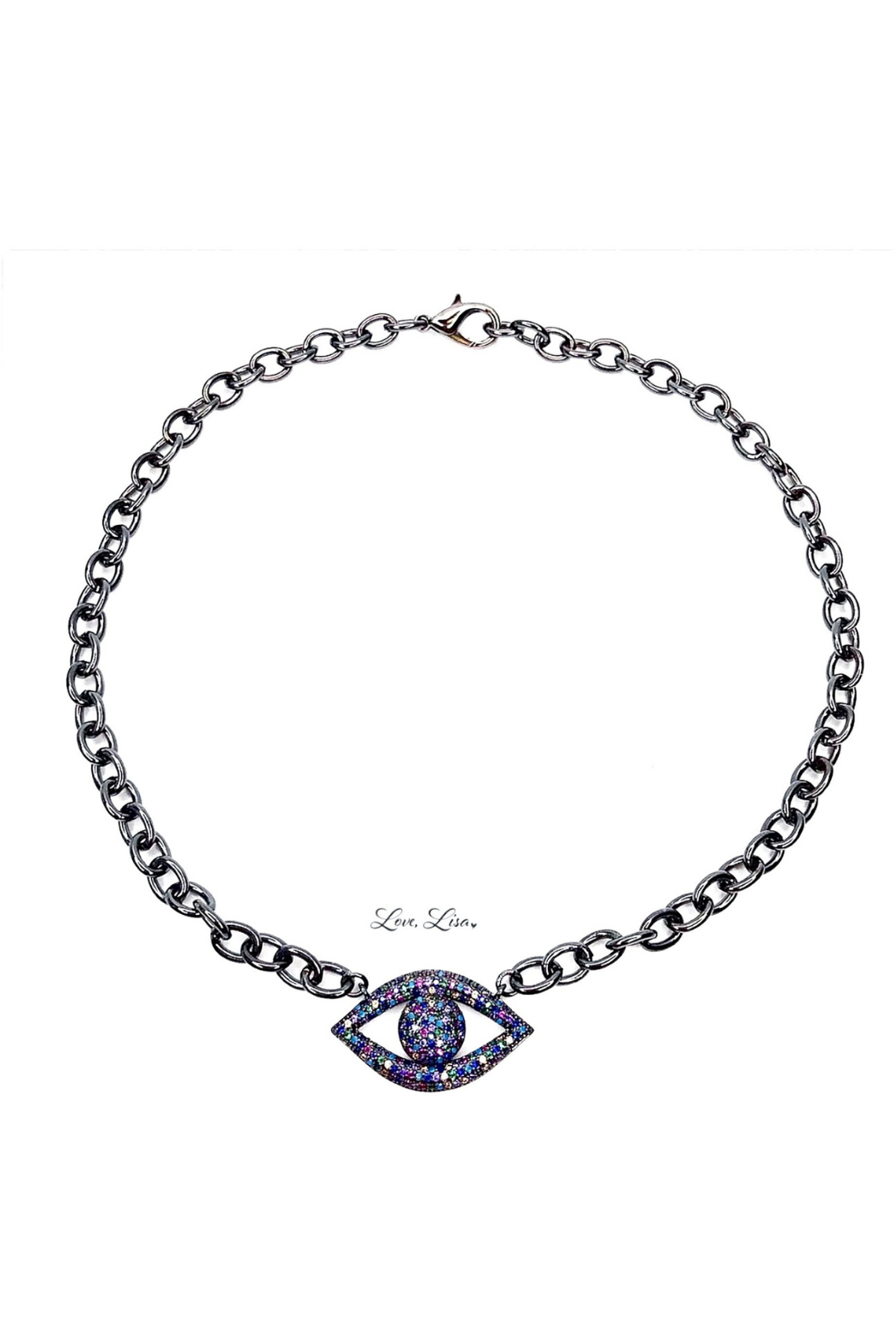 Love, Lisa Dani's Colorful Evil Eye Necklace - Front Cropped Image