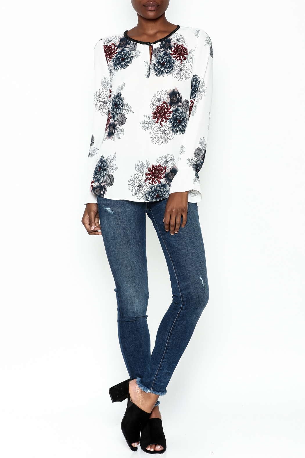 Daniel Rainn Floral Long Sleeve Top - Side Cropped Image