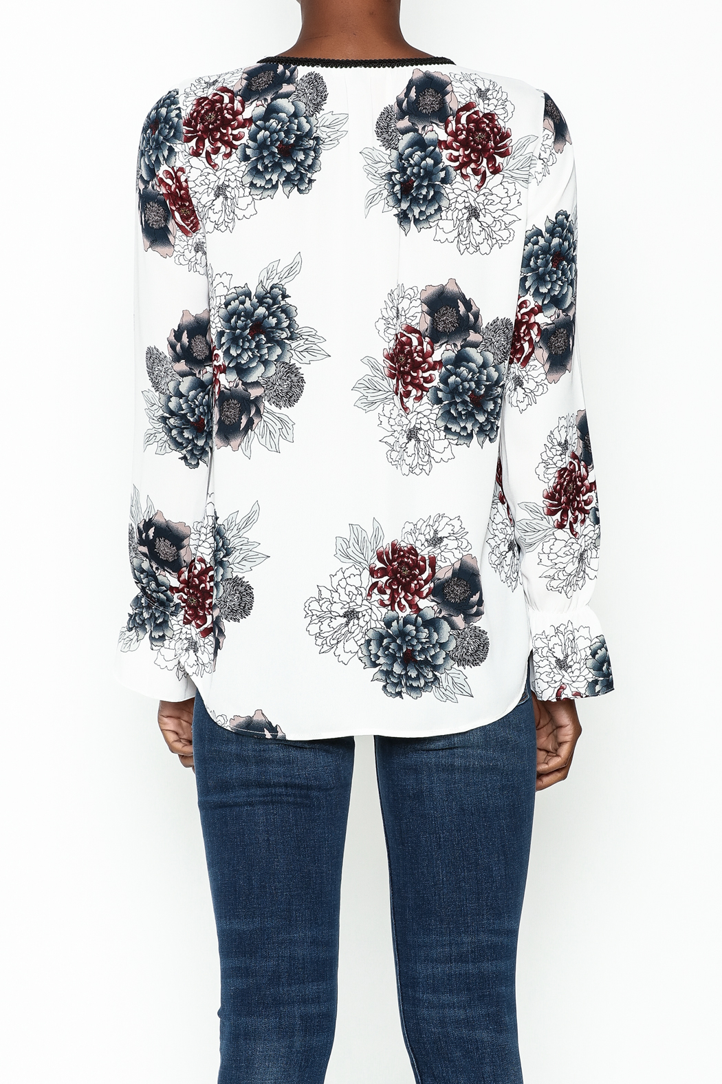 Daniel Rainn Floral Long Sleeve Top - Back Cropped Image