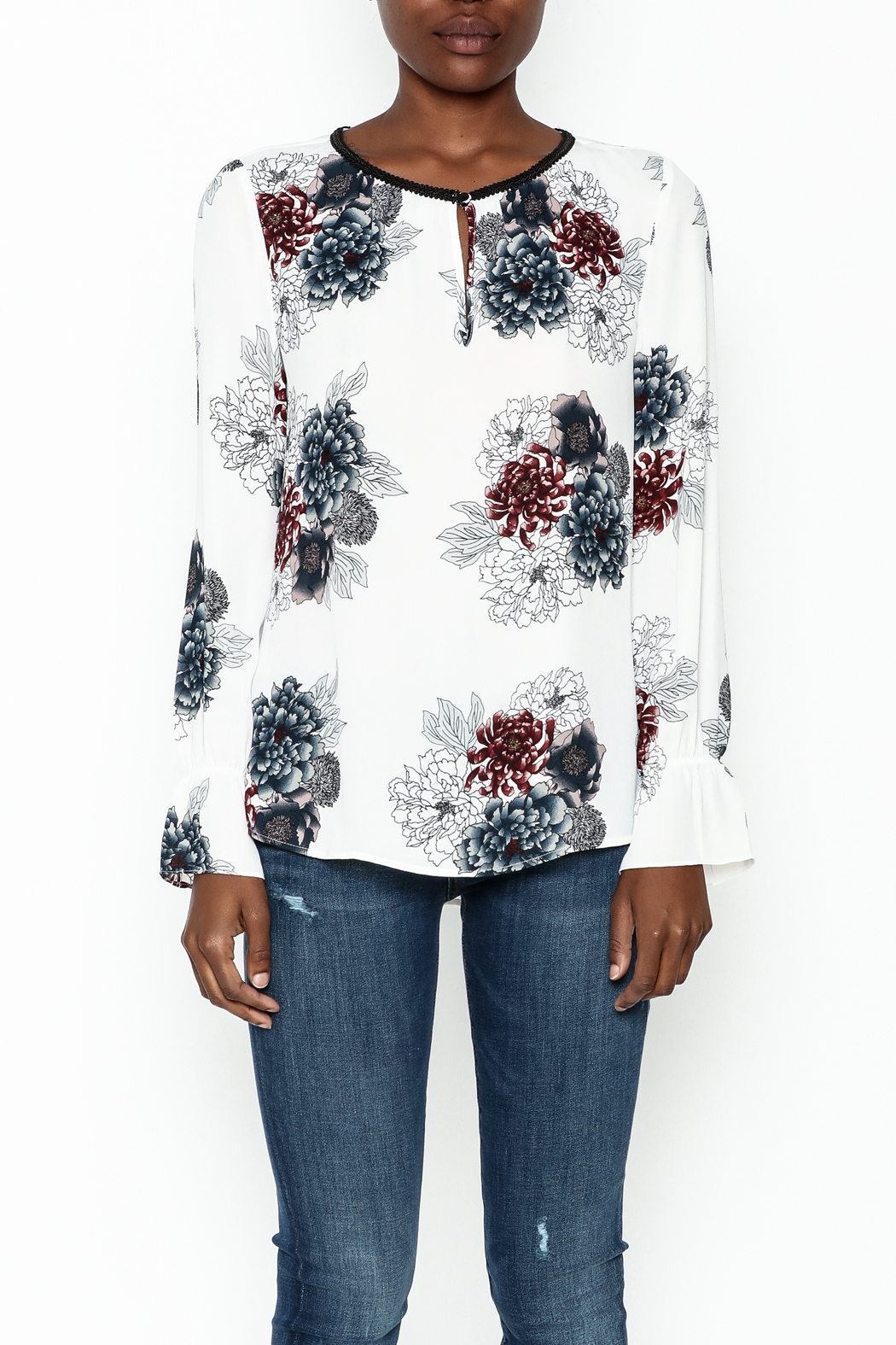 Daniel Rainn Floral Long Sleeve Top - Front Full Image