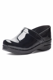 Dansko Black Patent Clog Shoes - Front cropped