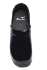 Dansko Black Patent Clog Shoes - Side cropped