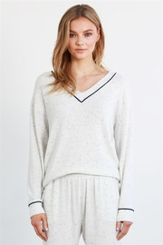 COA Dapple Vneck Knit Top w Banded Hem - Product Mini Image