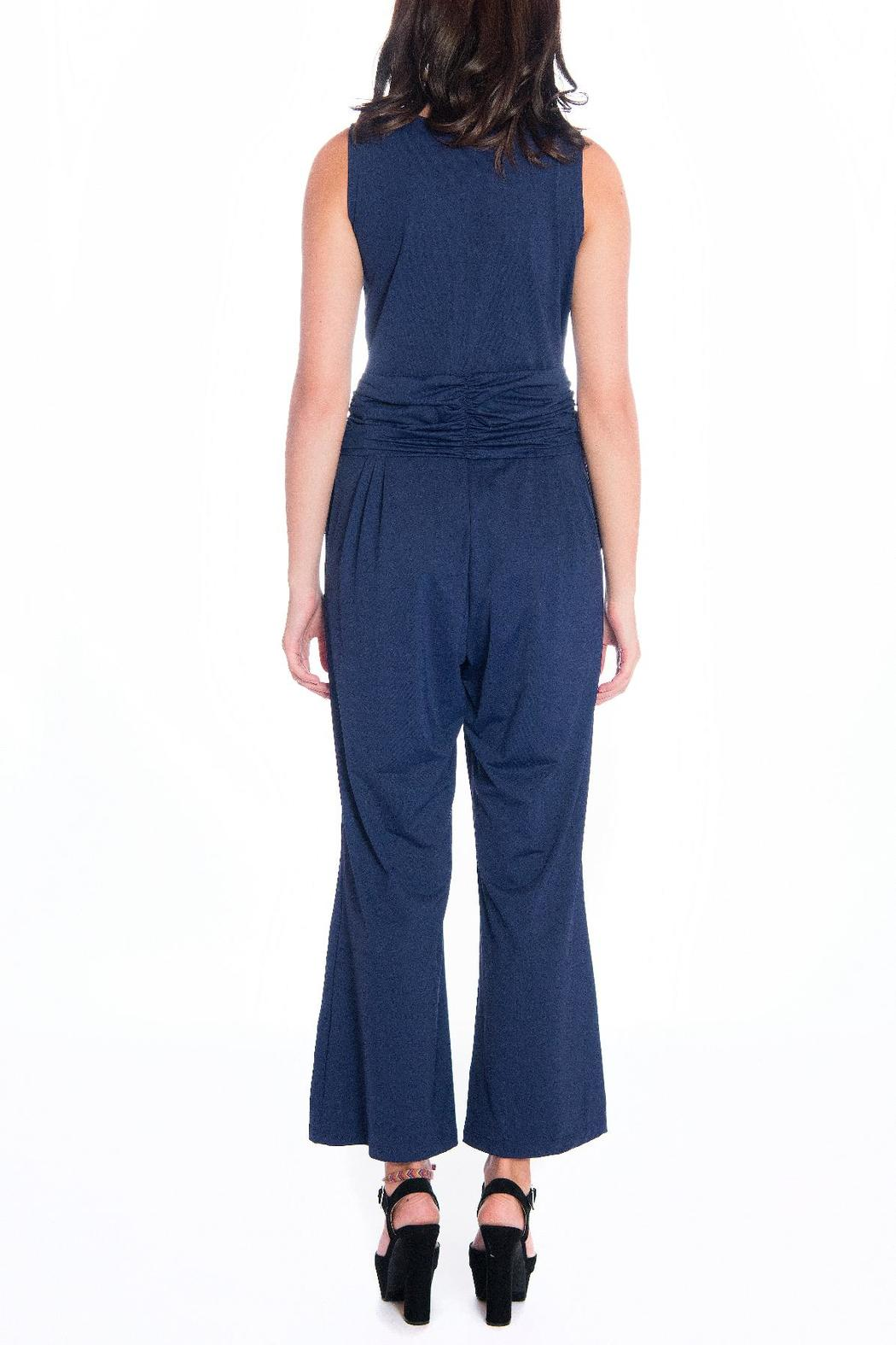 Daria Blue Fitted Jumpsuit - Side Cropped Image